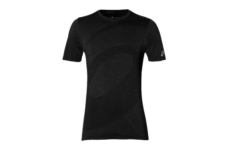 ASICS Men's Seamless Short Sleeve Top (Performance Black, Size L)