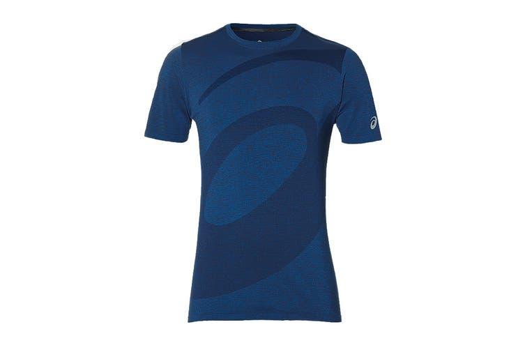 ASICS Men's Seamless Short Sleeve Top (Blue, Size S)