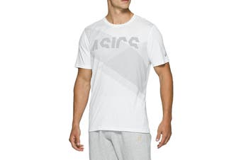 ASICS Men's AT Graphic Short Sleeve Tee (Brilliant White/Piedmont Grey)