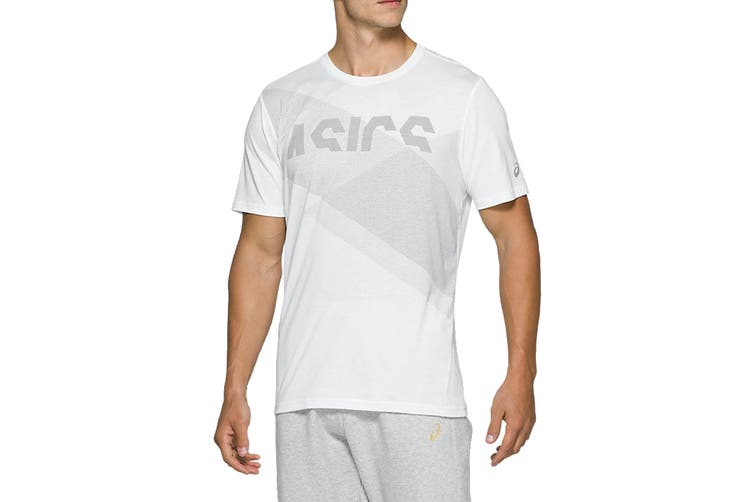 ASICS Men's AT Graphic Short Sleeve Tee (Brilliant White/Piedmont Grey, Size XL)
