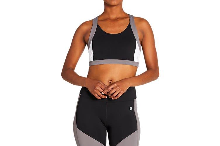 ASICS Women's Colour Block Bra (Performance Black, Size XL)