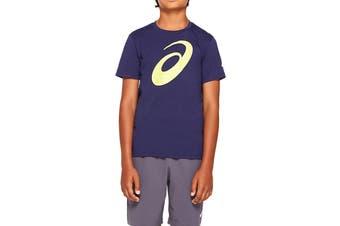 ASICS Boys Big Spiral Short Sleeve Top (Peacoat, Size XS)