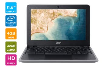 "Acer C733-C08J 11.6"" ChromeOS HD Chromebook (Celeron N4120, 4GB RAM, 32GB eMMC, Black) - AU/NZ Model"