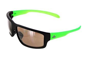 Adidas Kumacross 2.0 Sunglasses (Matte Black/Green, Size 64-13-140) - Lst Contrast Silver
