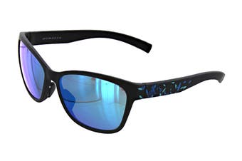 Adidas Women's Excalate Sunglasses (Matte Black Floral, Size 58-15-140) - Blue Mirror