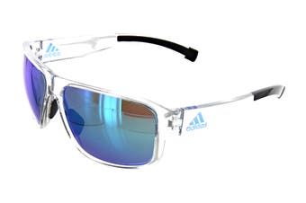 Adidas Men's Jaysor Sunglasses (Shiny Crystal, Size 60-14-135) - Blue Mirror
