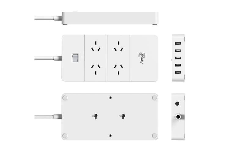Aerocool ASA QA4A5U2 PowerStrip with 4 AC Outlet and 5 USB Charging Ports, 5V/2.4A