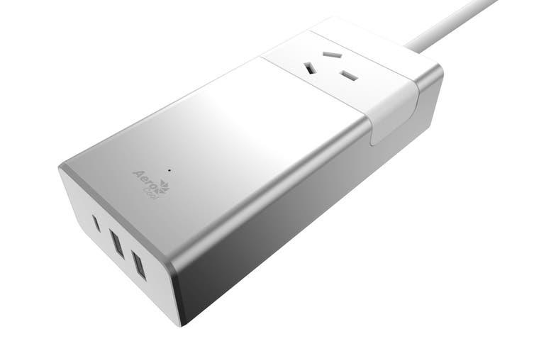 Aerocool ASA PT1A3U2 Aluminum PowerStrip with 1 Outlet, 1 TypeC 5V/3.0A , 2 USB 5/2.4A Charging Port