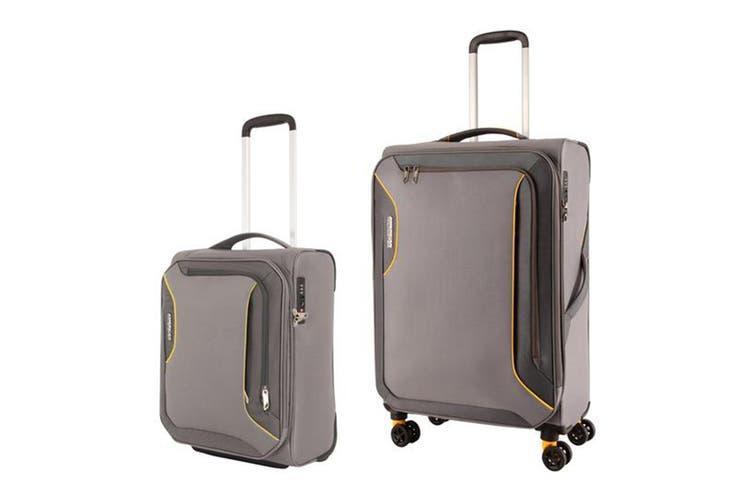Dick Smith American Tourister Applite 3 Spinner 2 Piece Tsa Luggage Set Lightning Grey Luggage Sets