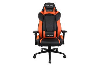 Anda Seat AD7-23 Large Gaming Chair with 4D Armrest, 60mm Casters, Premium Black Aluminium Feet - Black/Orange