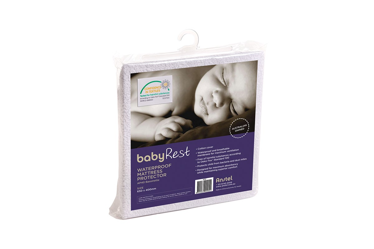 Bubba Blue Breathe Easy 40x80cm Waterproof Quilted Mattress Protector Bassinet