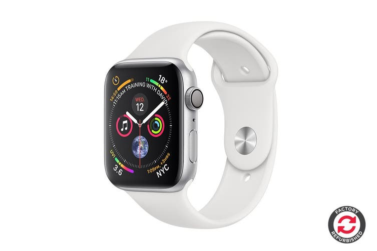 Apple Watch Series 4 Refurbished (Silver, 44mm, White Sport Band, GPS Only) - A Grade