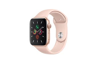 Apple Watch Series 5 (Gold Aluminum, 44mm, Pink Sand Sport Band, GPS Only)