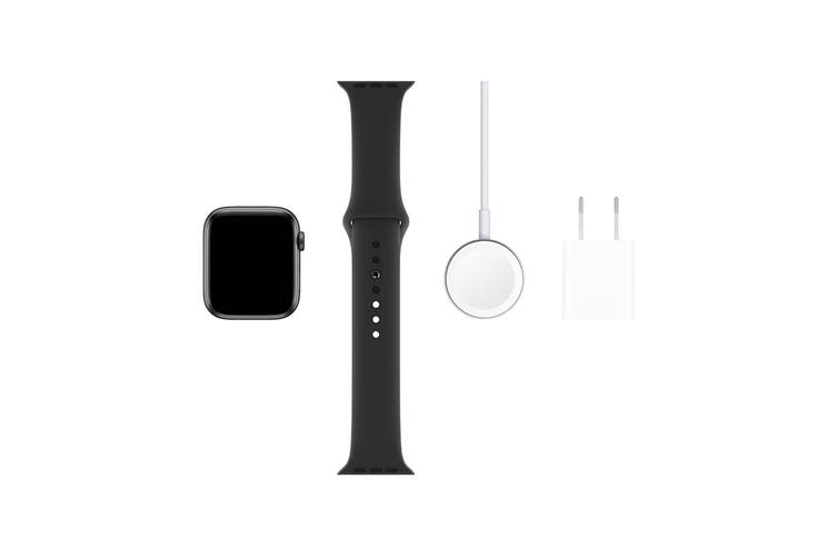 Apple Watch Series 5 (Space Grey Aluminum, 44mm, Black Sport Band, GPS Only)