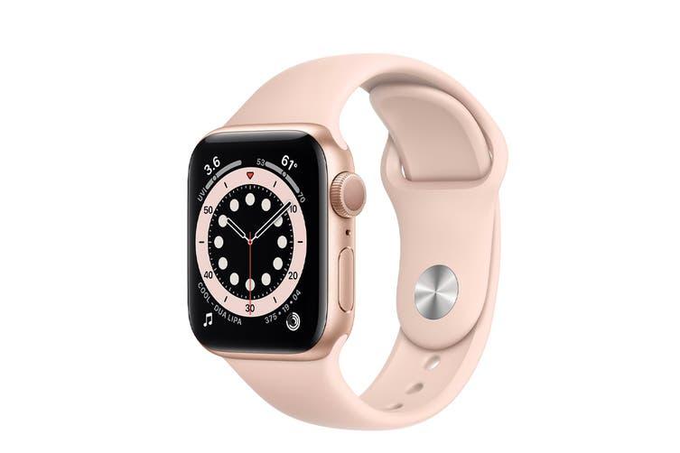 Apple Watch Series 6 (Gold Aluminum, 40mm, Pink Sand Sport Band, Cellular)
