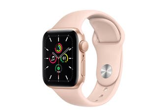 Apple Watch SE (Gold Aluminum, 40mm, Pink Sand Sport Band, GPS Only)