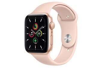 Apple Watch SE (Gold Aluminum, 44mm, Pink Sand Sport Band, Cellular)