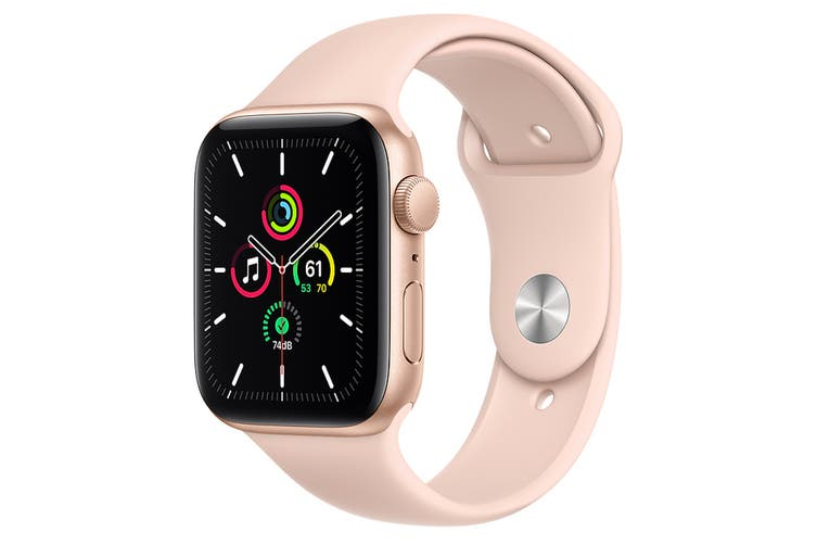 Apple Watch SE (Gold Aluminum, 44mm, Pink Sand Sport Band, GPS Only)