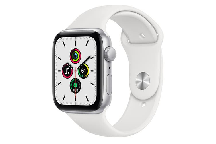 Apple Watch SE (Silver Aluminium, 44mm, White Sport Band, GPS Only)