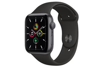 Apple Watch SE (Space Grey Aluminium, 44mm, Black Sport Band, GPS Only)