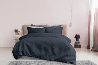 Ardor Boudoir Leonardo Embossed Quilt Cover Set - Midnight (Double)