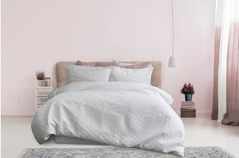 Ardor Boudoir Leonardo Embossed Quilt Cover Set - White (King)