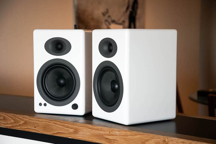 Audioengine 5+ Wireless Powered Speakers Pair with Subwoofer - Gloss White