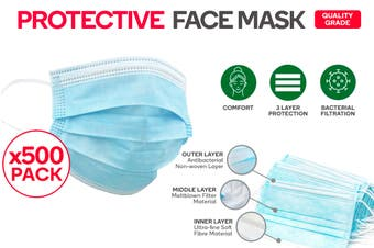 500 Pack of 3 Ply Protective Disposable Face Mask