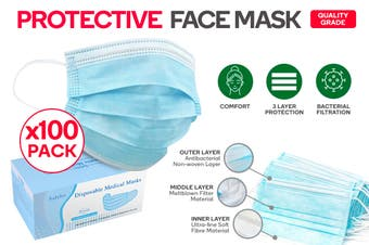 100 Pack of 3 Ply Protective Disposable Face Mask
