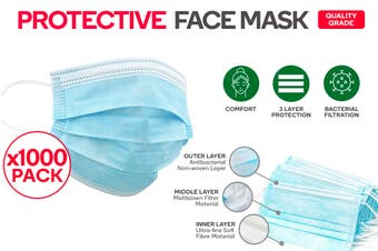 1000 Pack of 3 Ply Protective Disposable Face Mask