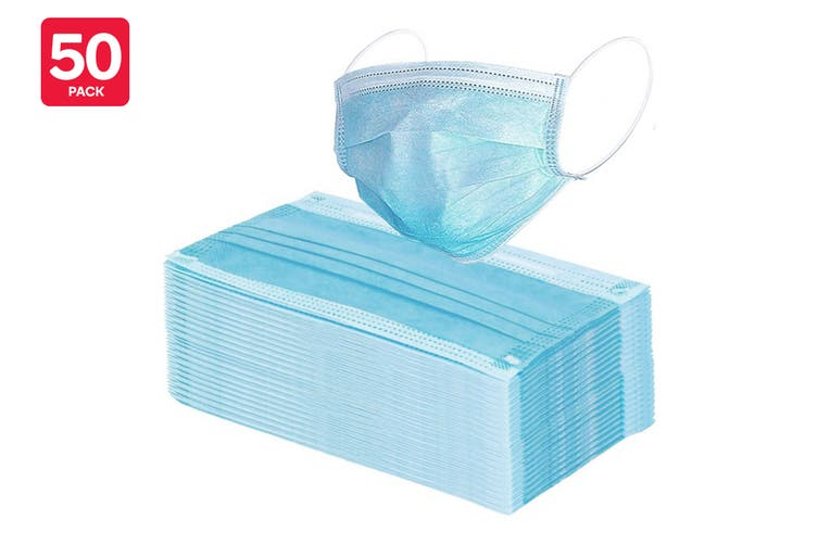 50 Pack of 3 Ply Protective Disposable Face Mask