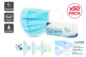 50 x 3 Ply Protective Disposable Face Mask with BFE >95% Filtration