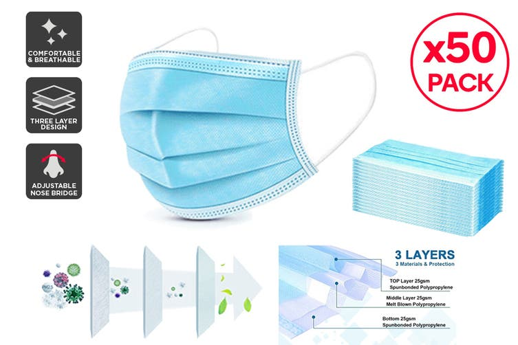 50 x 3 Ply Protective Disposable Face Masks