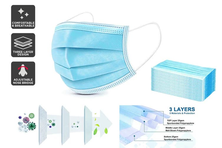 200 x 3 Ply Protective Disposable Face Masks