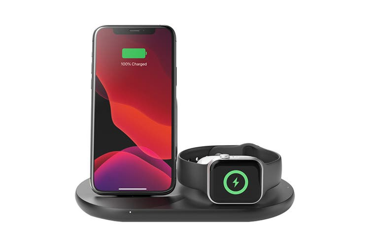 Belkin Wireless 10W Charging Stand for iPhone, AirPod and Apple Watch - Black (WIZ001AUBK)