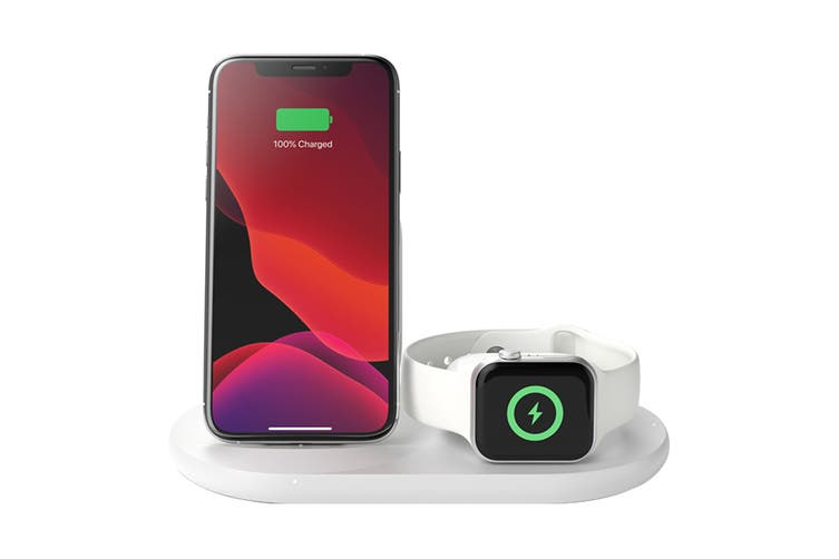 Belkin Wireless 10W Charging Stand for iPhone, AirPod and Apple Watch - White (WIZ001AUWH)
