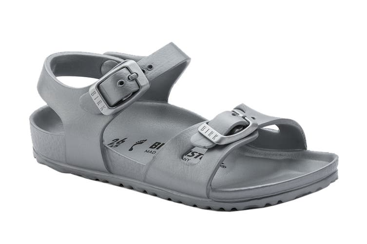 Birkenstock Rio KIDS EVA Regular Fit Sandal (Metallic Silver, Size 25 EU)