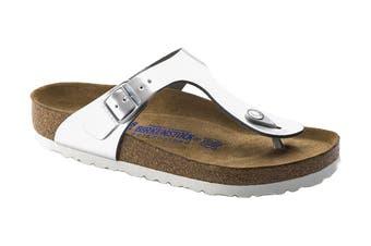 Birkenstock Gizeh NL SFB Regular Fit Sandal (Metallic Silver, Size 37 EU)