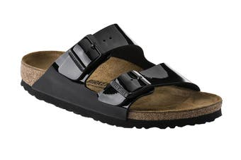 Birkenstock Arizona Birko-Flor Patent Regular Fit Sandal (Black, Size 45 EU)