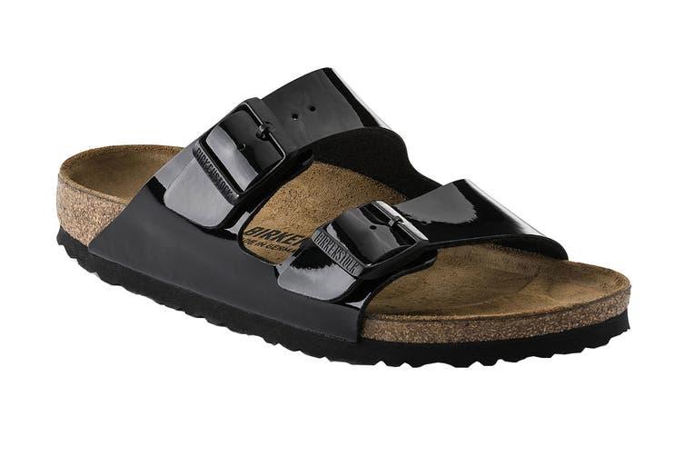 Birkenstock Arizona Birko-Flor Patent Regular Fit Sandal (Black, Size 45 EU)