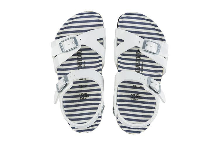 Birkenstock Kids Rio Birko-Flor Narrow Fit Sandal (Nautical Stripes White, Size 26 EU)
