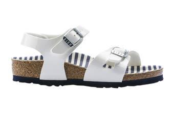 Birkenstock Kids Rio Birko-Flor Narrow Fit Sandal (Nautical Stripes White, Size 32 EU)