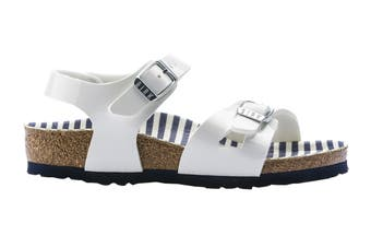 Birkenstock Kids Rio Birko-Flor Narrow Fit Sandal (Nautical Stripes White, Size 33 EU)