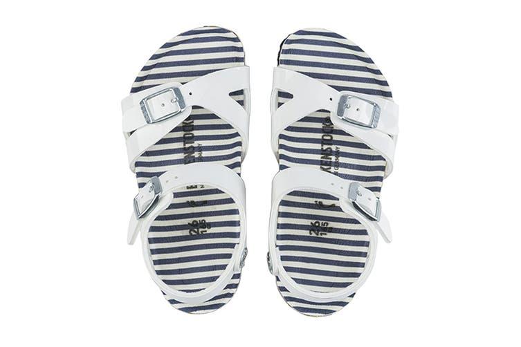 Birkenstock Kids Rio Birko-Flor Narrow Fit Sandal (Nautical Stripes White, Size 34 EU)