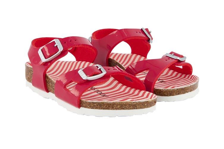 Birkenstock Kids Rio Birko-Flor Narrow Fit Sandal (Nautical Stripes Red, Size 33 EU)