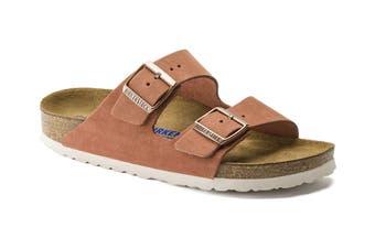 Birkenstock Women's Arizona Suede Leather Soft Footbed Regular Fit Sandal (Red Earth)