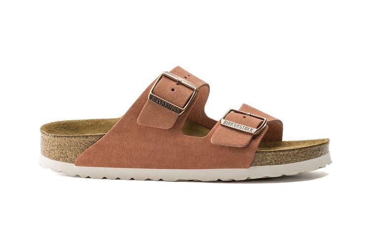 Birkenstock Women's Arizona Suede Leather Soft Footbed Regular Fit Sandal (Red Earth, Size 37 EU)