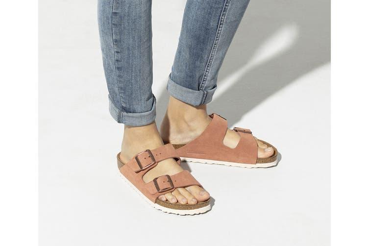 Birkenstock Women's Arizona Suede Leather Soft Footbed Regular Fit Sandal (Red Earth, Size 39 EU)