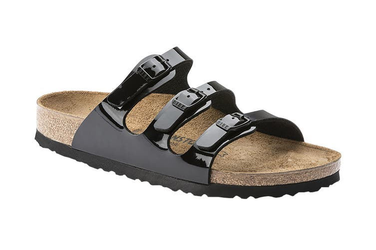 Birkenstock Florida BF Patent Regular Fit Sandal (Black, Size 37 EU)