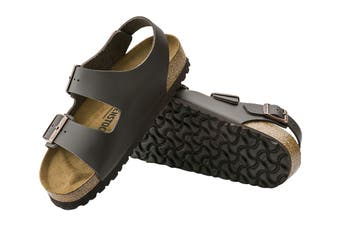 Birkenstock Unisex Milano Smooth Leather Regular Fit Sandal (Dark Brown, Size 40 EU)